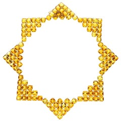 Paolo Costagli 18 Carat Gold, Cushion-Shaped Chequerboard Cut Citrine Necklace