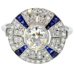 1 Carat Diamond and Sapphire Cluster Ring