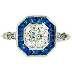 1.30 Carat Sapphire and Diamond Square Target Ring
