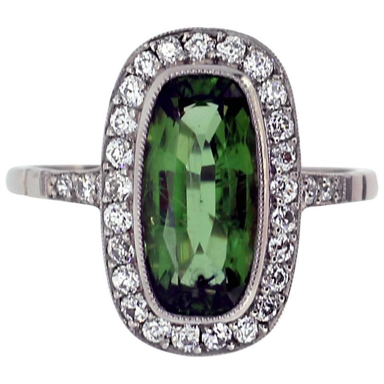 Oval Tourmaline And Diamond Cluster Ring For Sale At 1stdibs
