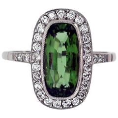 Oval Tourmaline and Diamond Cluster Ring