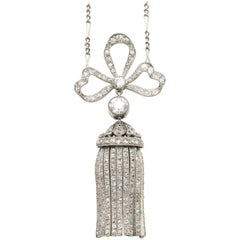 1905 Diamond Bow Pendant with Articulated Tassel Drop