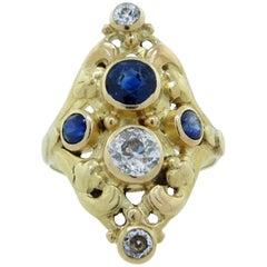Original Art Nouveau Sapphire and Diamond Ring
