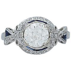 Art Deco 1.10 Carat Diamond Sapphire Engagement Ring Platinum