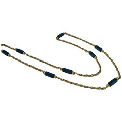 20th Century Stylish Onyx Gold Long Chain