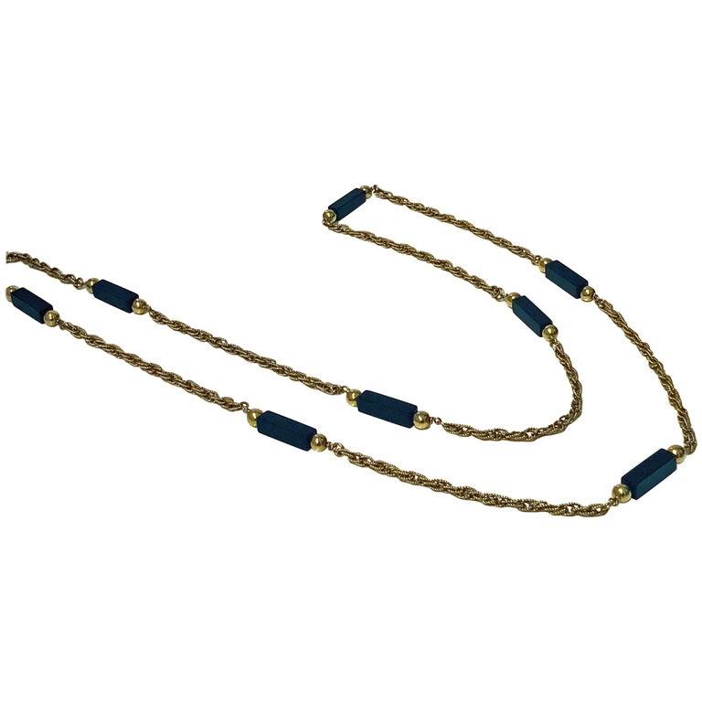 20th Century Stylish Onyx Gold Long Chain