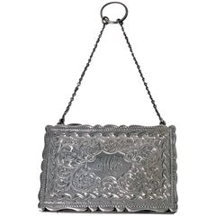 Antique Silver Purse Card Case Birmingham 1910, Adie