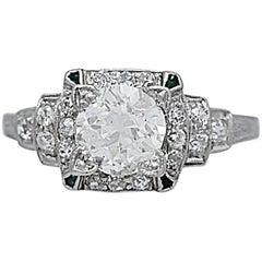 1.05 Carat Diamond Emerald Platinum Art Deco Engagement Ring