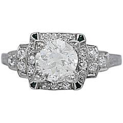 1.05 Carat Diamond Emerald Platinum Art Deco Engagement Ring