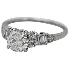 Art Deco .94 Carat Diamond Platinum Engagement Ring