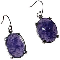 Oval Tanzanite Tablets with Faceted Table in Sterling Silver Earrings