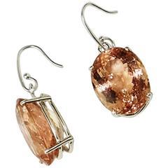 Flashing Oval Morganite Earrings in Stering Silver