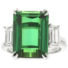 Stunning Tourmaline Diamond Platinum Ring