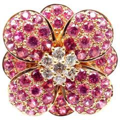 Van Cleef & Arpels Pink Sapphire Diamond Flower Rose Gold Ring