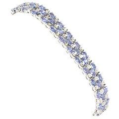 Tanzanite and Diamond Mesh Bracelet Set in 18 Carat White Gold