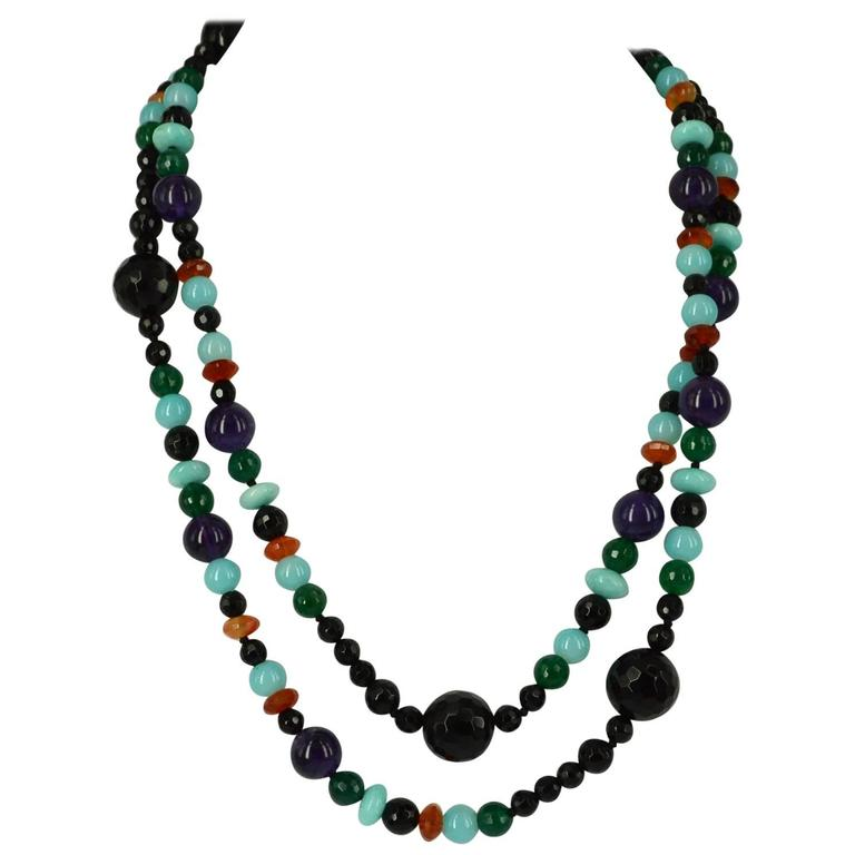 Decadent Jewels Onyx Green Onyx Amethyst Carnelian Amazonite Silver Necklace For Sale
