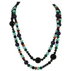Decadent Jewels Onyx Green Onyx Amethyst Carnelian Amazonite Silver Necklace