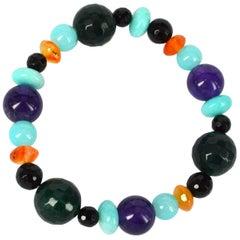 Decadent Jewels Onyx Amethyst Carnelian Amazonite Elastic Bracelet