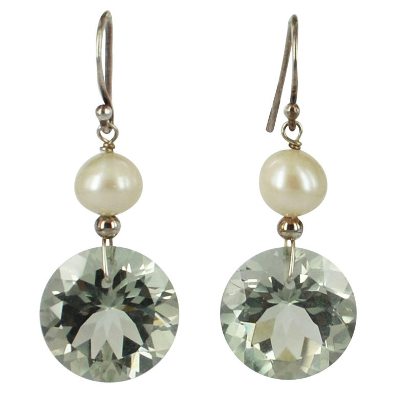 Decadent Jewels Green Amethyst Pearl Silver Earrings