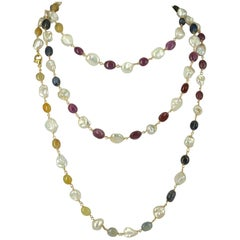 Decadent Jewels Multi-Color Sapphire and Keshi Pearl Gold Long Necklace