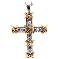 Tiffany & Co. Jean Schlumberger Diamond Cross Platinum Gold Pendant Necklace
