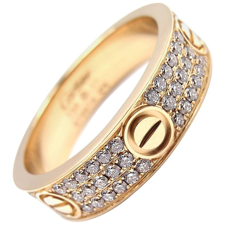 Cartier Love Diamond Paved Yellow Gold Band Ring For Sale