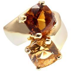 Hermes Bypass Citrine Golden Topaz Yellow Gold Band Ring
