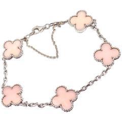 Van Cleef & Arpels Pink Opal Vintage Alhambra Five Motif White Gold Bracelet