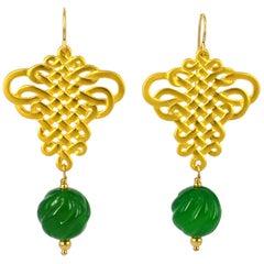 Decadent Jewels Oriental Carved Green Agate Matt Gold Earrings