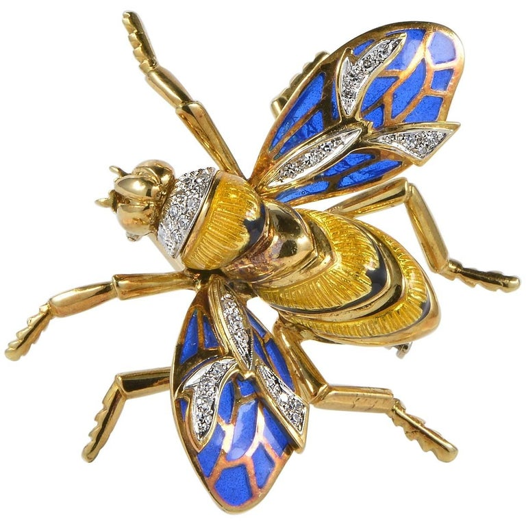 Plique a Jour Diamond Jumbo Sized Bumble Bee Vintage Brooch