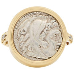 Dubini Alexander the Great Silver Coin Diamond Gold Ring