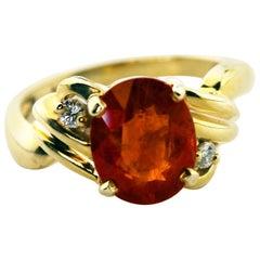 Glittering Spessartite Garnet and Diamond Ring
