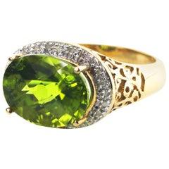 Peridot and Diamond Ring