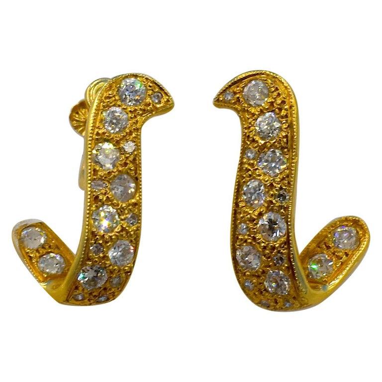 14 Karat Gold and Diamond Earrings For Sale
