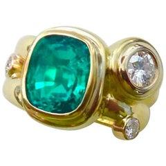 "Michael Kneebone Zambian Emerald Diamond Gold Double ""Leah"" Ring"