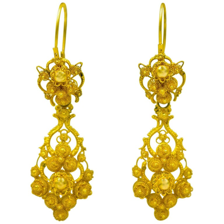 Antique 18 Karat Gold Cannetille Earrings For Sale