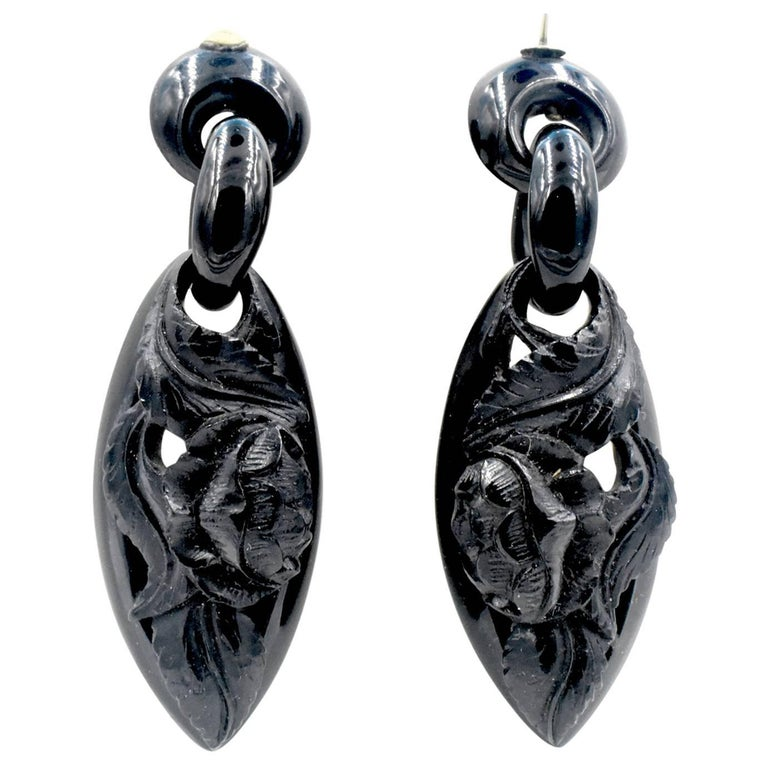 Antique Whitby Jet Drop Earrings For