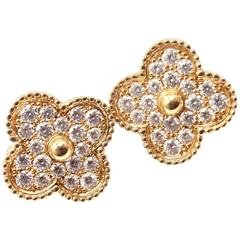 Van Cleef & Arpels Magic Diamond Alhambra Large Yellow Gold Earrings
