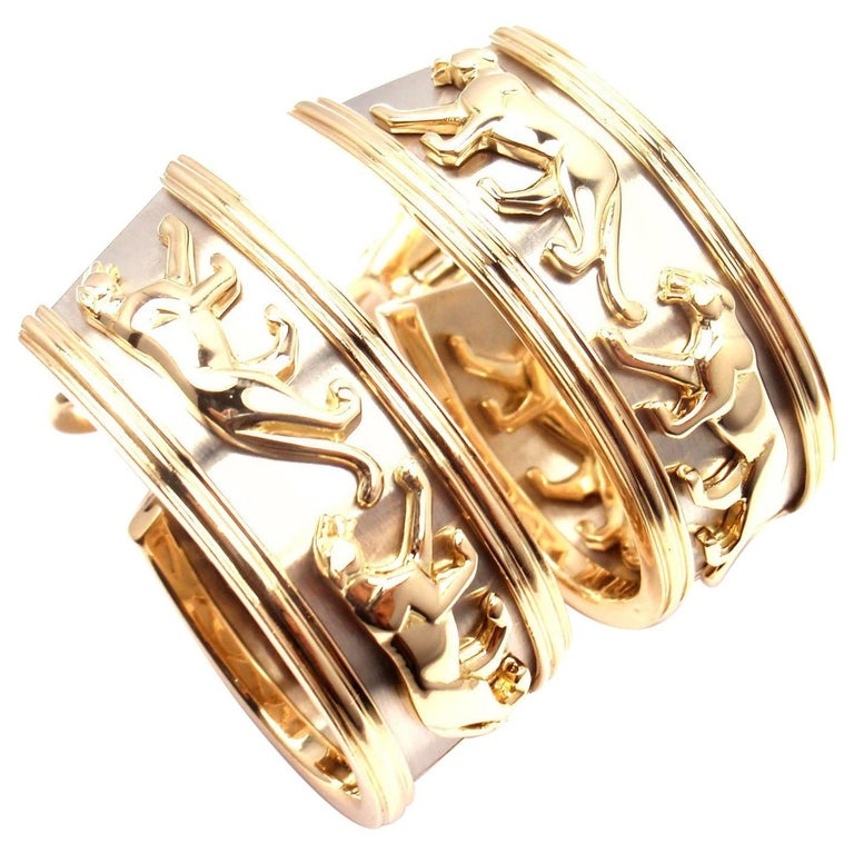 Cartier Walking Panther Panthere Large Hoop Yellow and White Gold Earrings