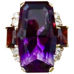Michael Kneebone Amethyst Rhodolite Garnet Diamond Cocktail Ring