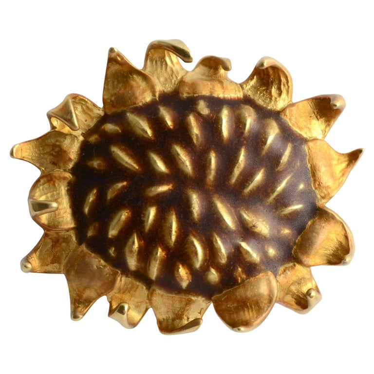 Angela Cummings Gold  and Enamel Sunflower Brooch For Sale