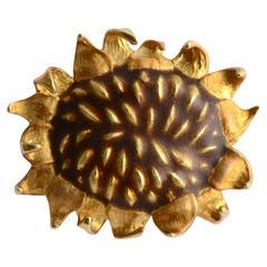Angela Cummings Gold Sunflower Brooch