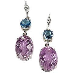 Extraordinary Oval Kunzite and Blue Topaz Sterling Silver Dangle Earrings