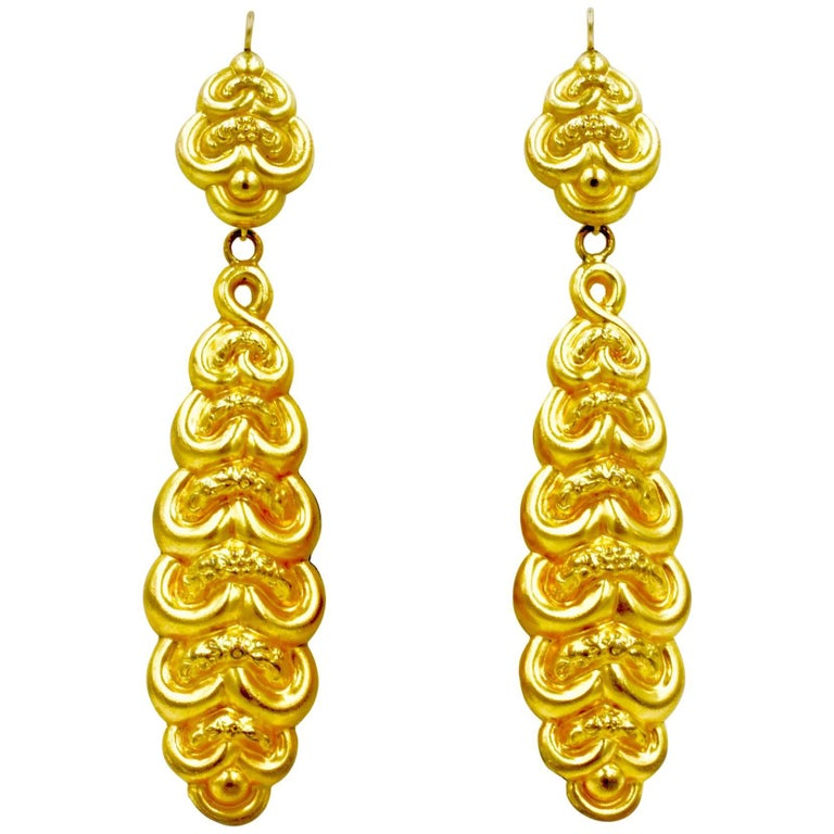 Antique Regency Long Pinchbeck  Earrings