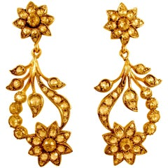 Antique Diamond Floral Earrings