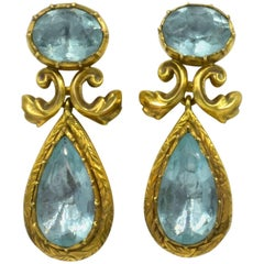 Antique Aquamarine Gold Drop Earrings