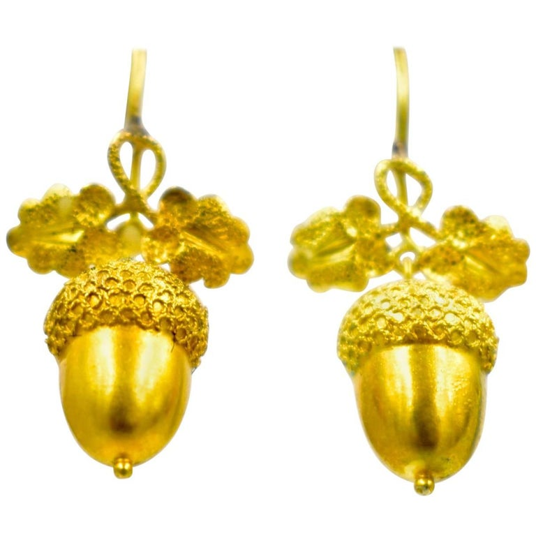 Antique Gold Acorn Earrings For Sale