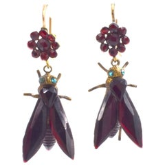 Antique Vauxhall Glass Fly Earrings