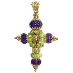 Italian Amethyst and Peridot Gold Cross Pendant Enhancer