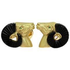 Safari Curved Onyx Emerald Yellow Gold Rams Head Cufflinks